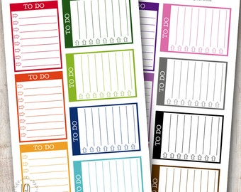 Arrow To Do List Checklist Blocks Planner Stickers, Rainbow - For Use with Erin Condren Life Planner, Vertical - Set of 14