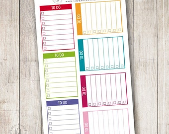 To Do List Checklist Block Planner Stickers, Rainbow, Set of 14 - Perfect for Plum Paper Planner