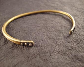 Oxidized Brass Cuff w Sterling Silver Studs