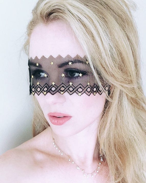 Starry Night Black Lace Mask Black Lace Mask New Year Etsy