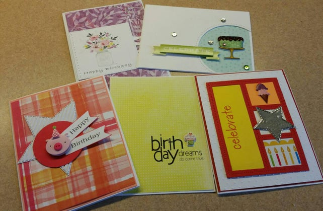 Set Of 5 Handmade Birthday Cards Bulk Assorted Unisex For Her Him