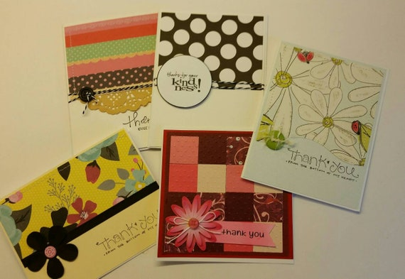 set of 5 handmade thank you cards assorted thank you cards