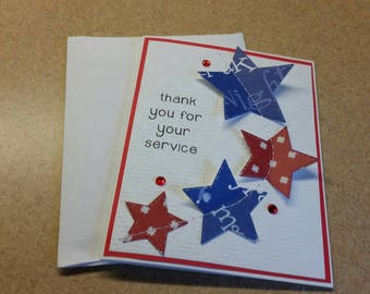 Sewn Thank You Card for Servicemen and Women. Military. Army. Marine. Navy. Air Force. Coast Guard. Veteran. Patriotic