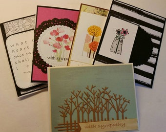 Set of 5  Handmade Sympathy Cards. Assorted Sympathy Cards. Bereavement. Grief. Variety of Sympathy Cards.