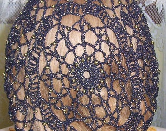 Simplicity Snood Pattern - Beaded Alternating Rows in Metallic Combination thread.