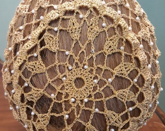 "Wheat Cluster Snood Pattern - Beaded Every Row in Metallic Combination thread-8"" Length"