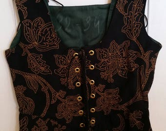 Brocade Renaissance Bodice: Black & Golden Vine Pattern-3 Sizes