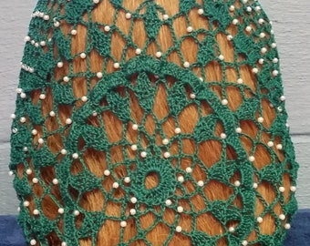 "Wheat Cluster Beaded Snood - Beaded on every row -8"" Regular Length"