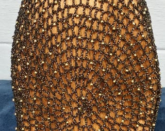 "Cotton/Metallic Combination Snood with Beads on alternating rows in 10"" Length"