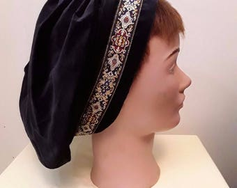Cotton Velveteen Muffin Hat with Decorative Trim