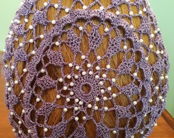 "Wheat Cluster Snood - Beaded Every Row in Metallic Combination thread-8"" Length"