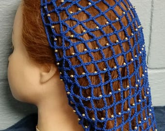 "40's Square Net Beaded Hair Snood - Beaded on Alternating rows -8"" Regular Length"