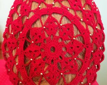 Berka II Fancy Snood in Cotton Beaded Every Row