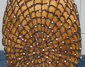 "Cinderella II Snood - Beaded Every Row in Metallic Combination thread- Standard 8"" Length"