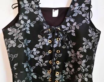 "Brocade Renaissance Bodice: Black & Silver Leaf Pattern-Size 34-36"" Waist"