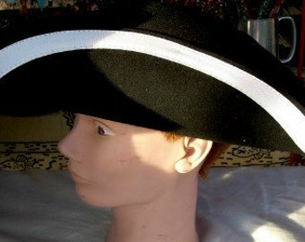 Adult Tricorn Hat with White Trim