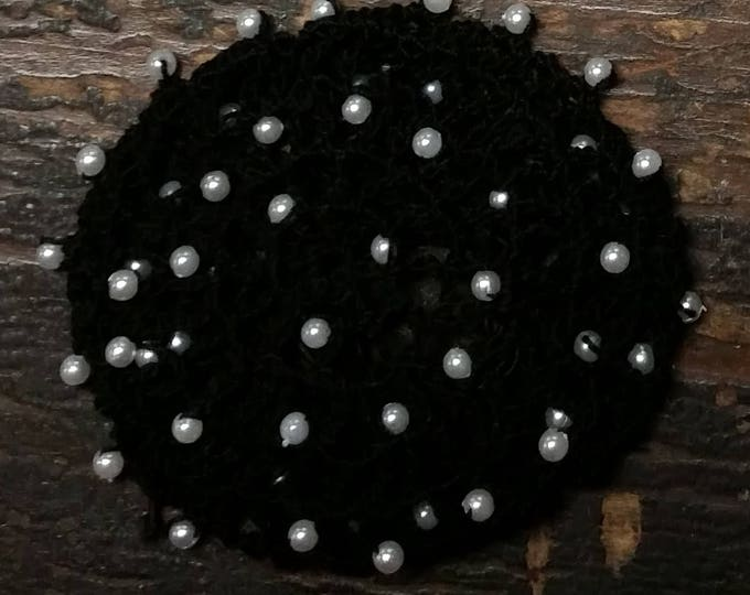Featured listing image: Beaded Hair Bun Cover- in Cotton Crochet Thread with Beads on Alternating rows