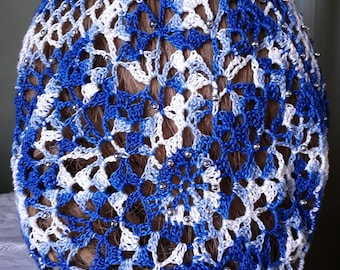 Lacy Bouquet Fancy Beaded Hair Snood - Beads on alternating rows