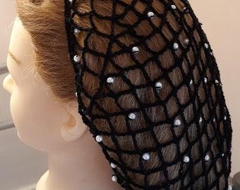 """40's Square Net Beaded Hair Snood - Beaded on Alternating rows -8"""" Regular Length"""
