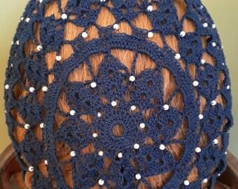 Berka II Fancy Beaded Snood in Cotton-Beaded on  Alternating Rows