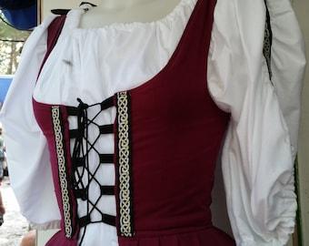 Irish/Celtic Short Chemise with Trim on Sleeves