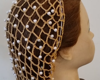 """Ever After Replica Snood - Beaded Every Row in Metallic Combination thread-Standard 8"""" Length"""
