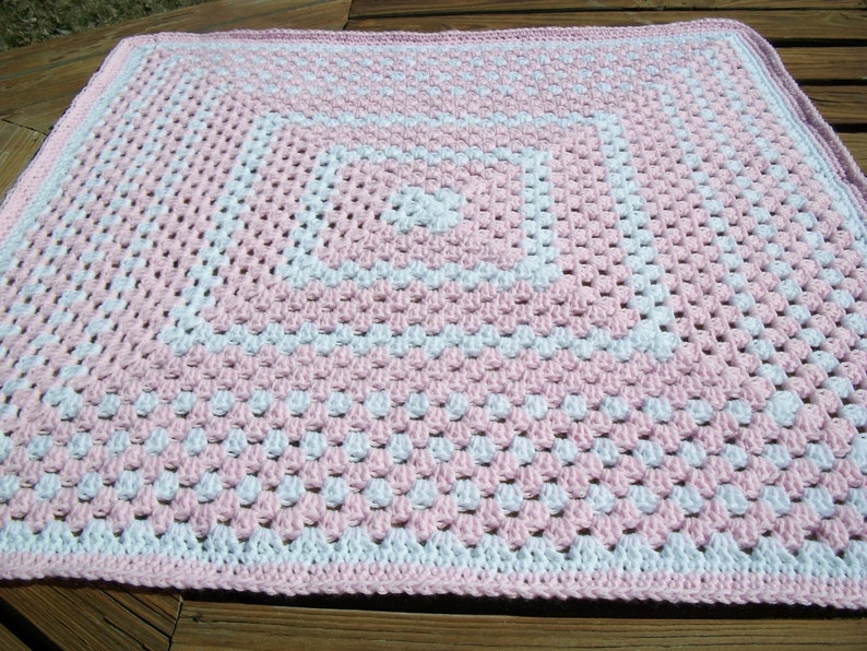 Baby GirlChild BlanketAfghan Hand Crocheted Pastel Pink Yarn White Yarn 34 Inches Square Granny Square READY TO SHIP