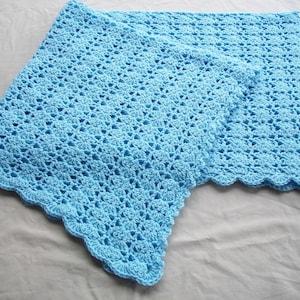 Baby BoyChild BlanketAfghan Hand Crocheted Beautiful Shell Border Pastel Blue Yarn 38 Square READY TO SHIP