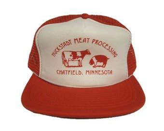 c8222b8b Vintage Huckstadt Meat Processing - Chatfield, Minnesota mesh Trucker Hat - snapback  snap back style - Red and White