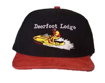 96ccf6047c5 Vintage Deerfoot Lodge - Snowmobile snapback snap back style - Black and  Red with snowmobiler