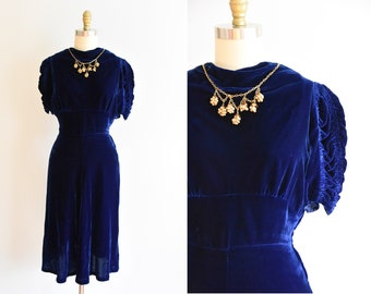 f3843ddabb 1940s Decadent Society dress  vintage 40s velvet dress  blue velvet  cocktail dress