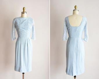 5269066cc99 1950s Lace   Grace dress   vintage 50s lace wiggle dress blue linen and lace  dress