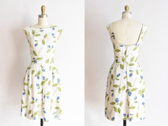 1950s De La Rosa dress /vintage 1950s rose daydres