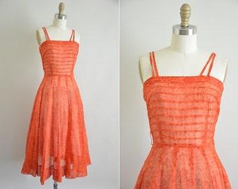 Vintage 50s bombshell dress/ 1950s tiki dress/ Lets go to Maui