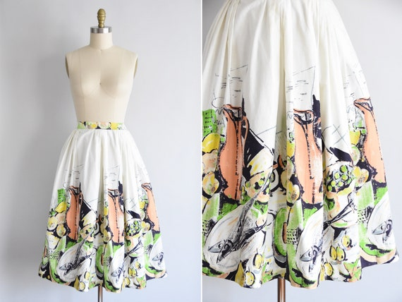 1950s Daily Catch skirt/ vintage 50s novelty skirt