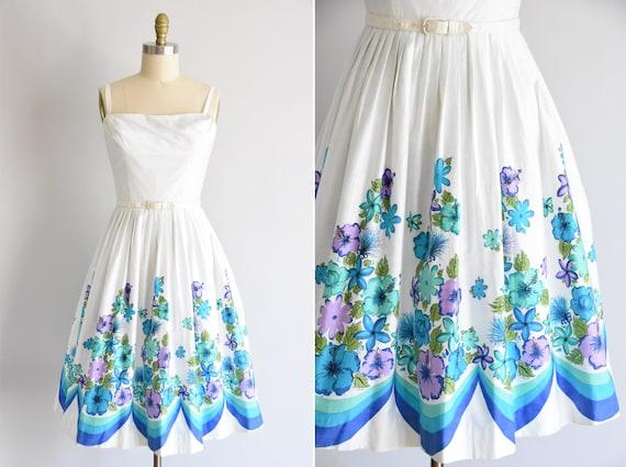 1950s Island Time dress/ vintage 50s floral daydre