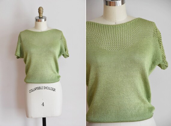 1950s Green & Glam knit/ vintage 50s knit/ vintage