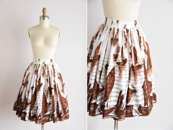 1950s Sail Out skirt/ vintage 50s novelty skirt/ n