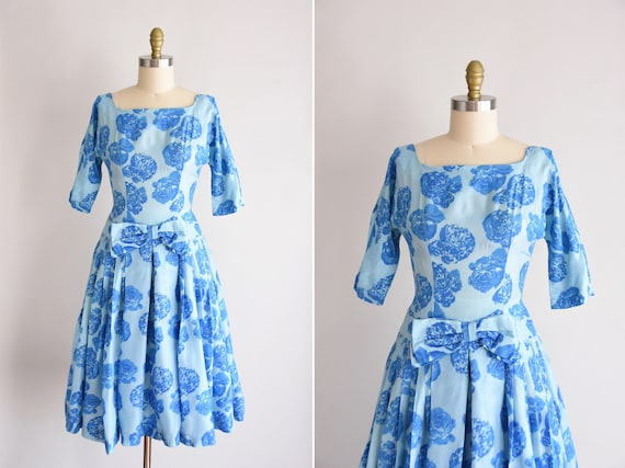 SALE 1950s Blue Belle dress/ vintage 1950s rose pa