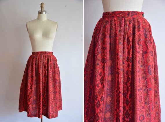 50s Crimson Leaf skirt/ vintage 1950s full skirt/