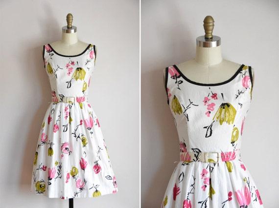 50s Canvas Bloom dress / vintage 1950s floral dayd