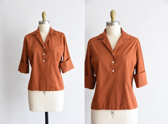 1950s Nutmeg blouse/ vintage 50s cotton blouse / J