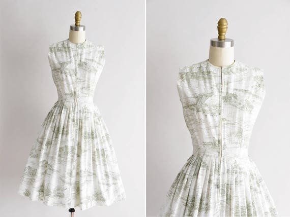 1950s Mystic Rivers dress/ vintage 50s novelty day