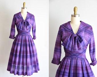 1950s Plum Perfection dress/ vintage 50s plaid daydress / Jonathan Logan cotton sundress