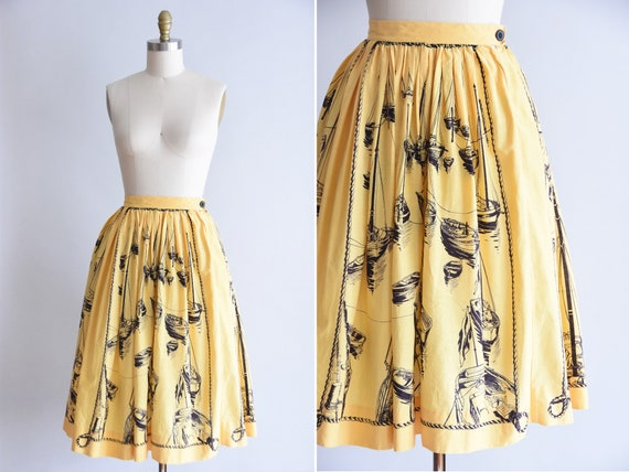 1950s Boat Show skirt/  vintage 50s novelty skirt/