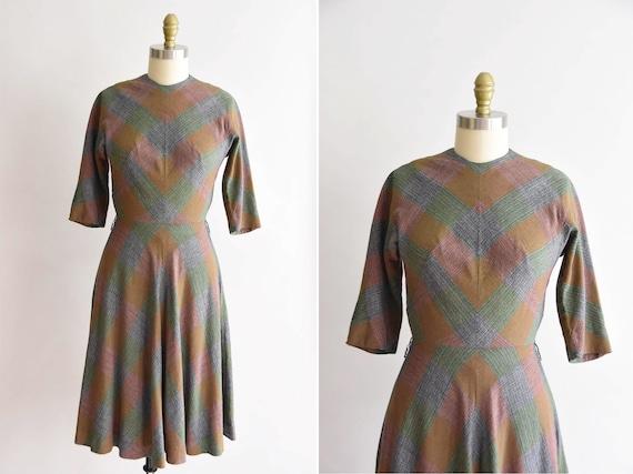 1950s Plaid Friday dress / vintage 50s plaid dress