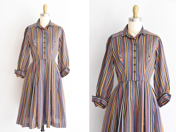 1950s Over the Rainbow dress/ vintage 50s cotton d