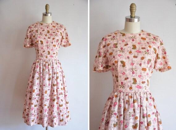 50s Fruit Delivery dress/ vintage 1950s novelty dr
