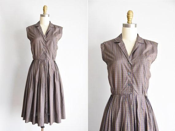1950s Classroom Rules dress/ vintage 50s plaid dre