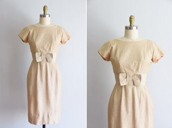 1950s Champagne Pop dress/ vintage 50s lurex dress